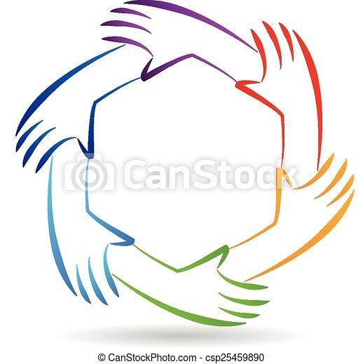 mãos, trabalho equipe, logotipo, identidade, unidade - csp25459890