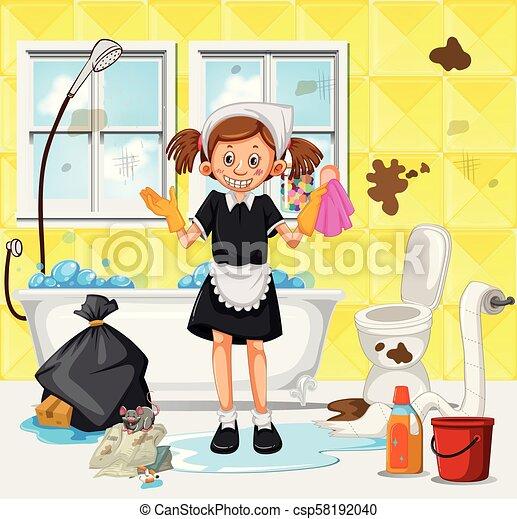 mädchen, badezimmer, putzen, dreckige