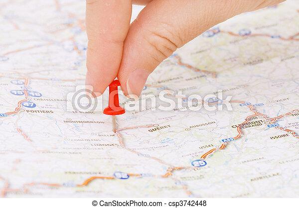 märkning, röd, pushpin, lokalisering - csp3742448