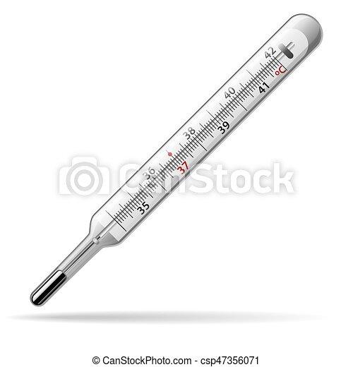 mätning, medical., temperatur, body., glas, vektor, mänsklig, termometer, kvicksilver