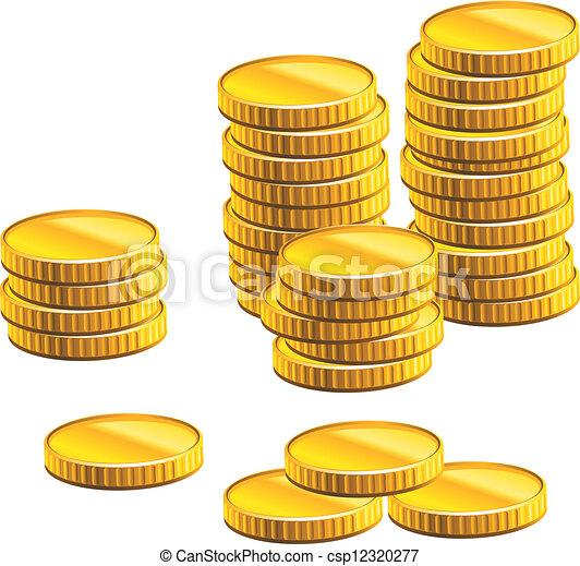 många, mynter, guld - csp12320277