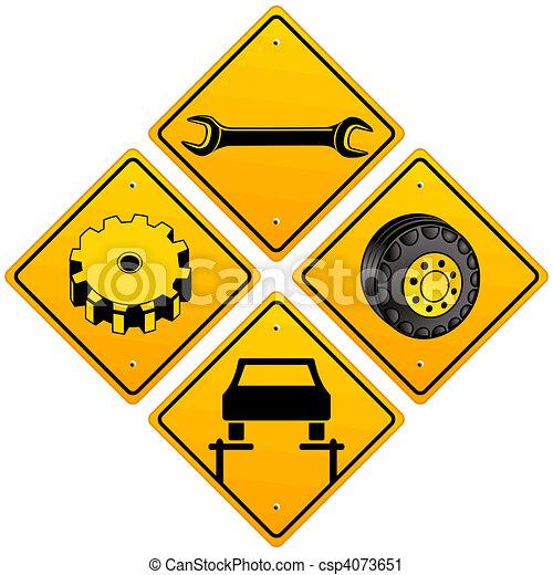 mécanique, réparation, voiture, signe - csp4073651