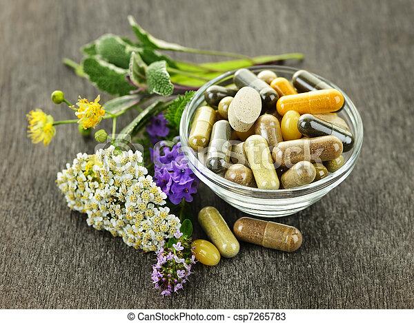 médecine fines herbes, herbes - csp7265783