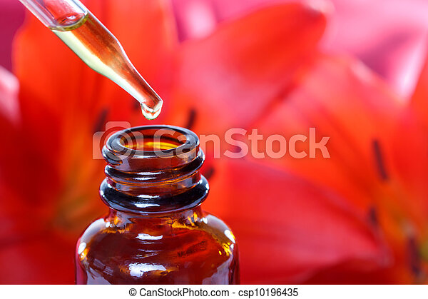 médecine, herbier, fleurs, compte-gouttes, bouteille - csp10196435
