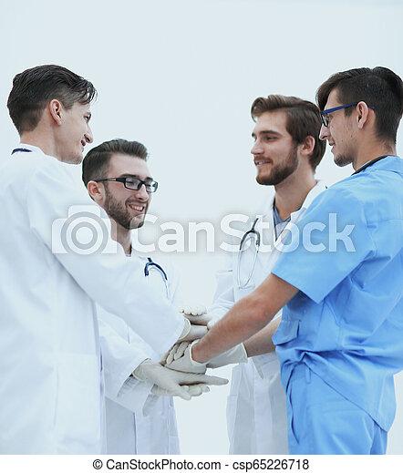 médecins, élevé, groupe, cinq, donner - csp65226718