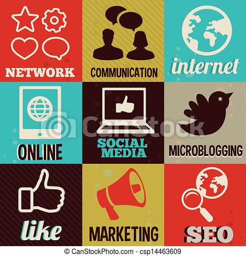 média, étiquettes, retro, interne, social - csp14463609