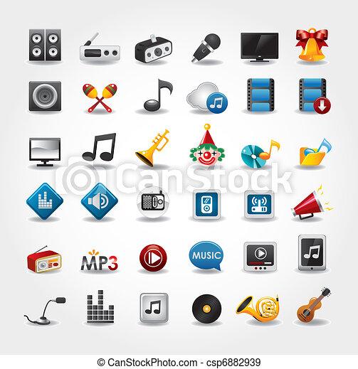 média, collection musique, icônes - csp6882939