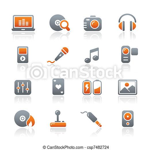 média, divertissement, &, icônes - csp7482724