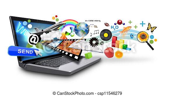 média, multi, internet, ordinateur portable, ob - csp11546279