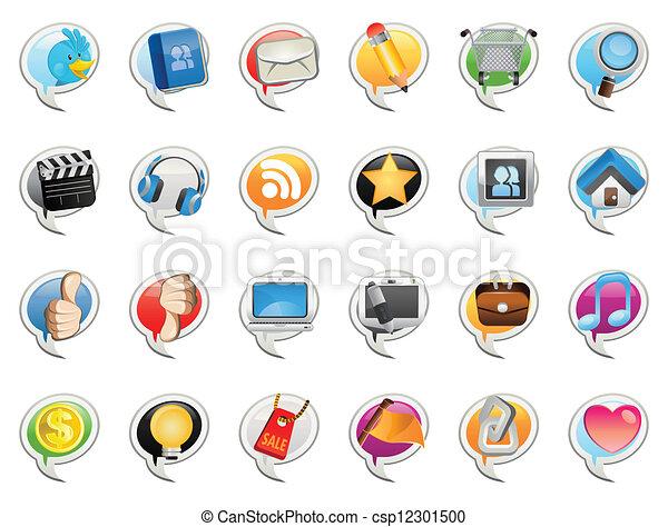 média, social, bulle, icône - csp12301500