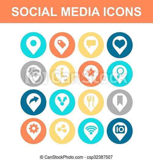 média, social, icône - csp32387507