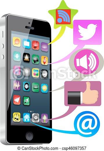 média, social, intelligent, téléphone - csp46097357