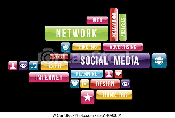 média, social, nuage, internet - csp14698601