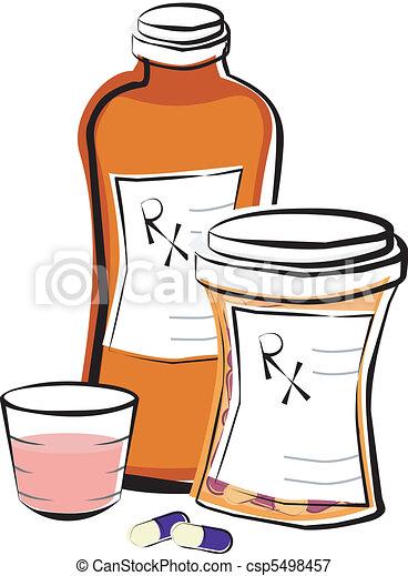 médicaments prescription, bouteilles - csp5498457