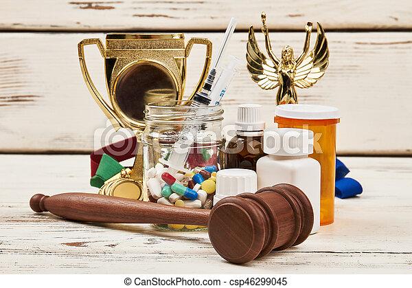 médicaments, récompenses, hammer. - csp46299045