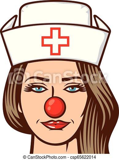 médico, -, ilustração, nariz, enfermeira, dia, vermelho - csp65622014