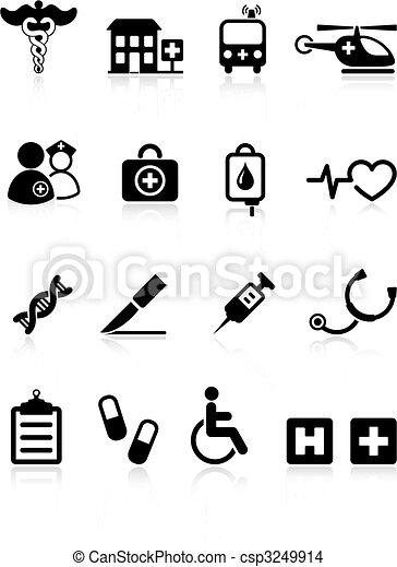 médico, internet, hospitalar, cobrança, ícone - csp3249914
