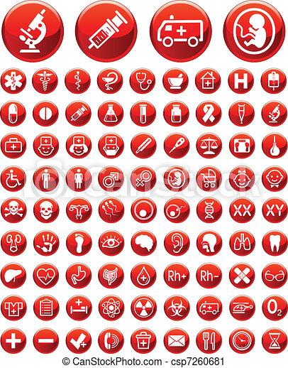 médico, jogo, aviso, silício, ícones - csp7260681