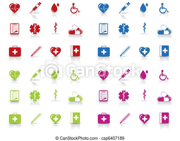 médico, jogo, hospitalar, ícones - csp6407189