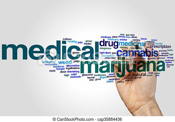 médico, palabra, marijuana, nube - csp35884436