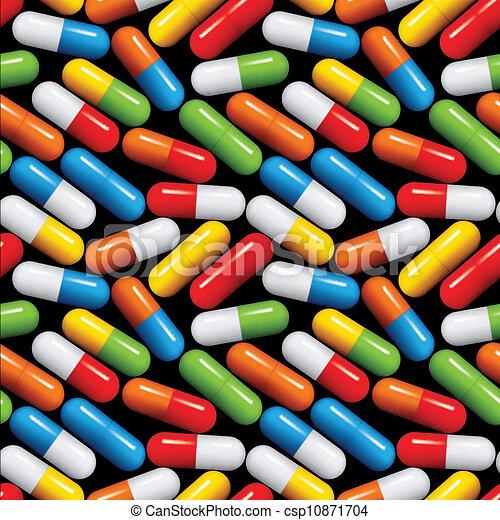 médico, pattern., pílulas, seamless - csp10871704