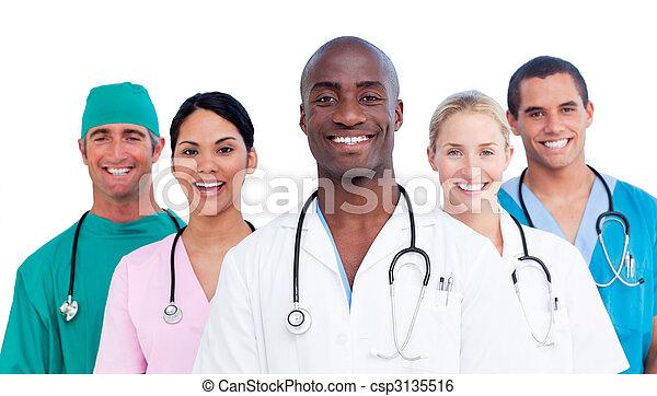 médico, positivo, retrato equipe - csp3135516
