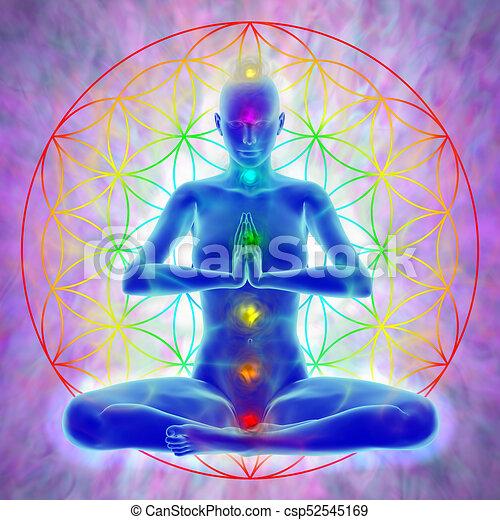 Méditation Fleur Vie Vie Femme Symbole Illustration Fleur