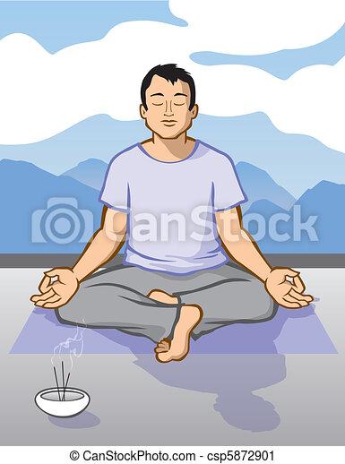 méditer, homme - csp5872901