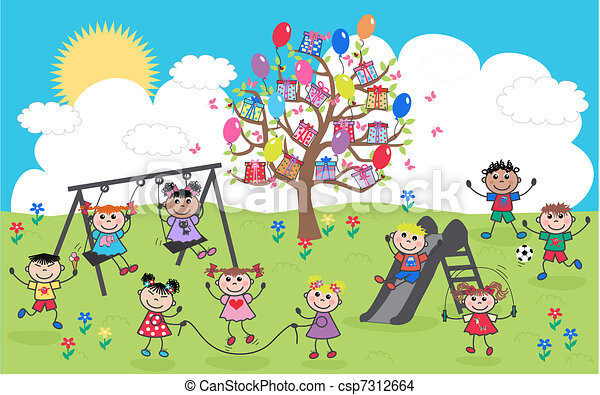 mélangé ethnique, enfants, heureux - csp7312664