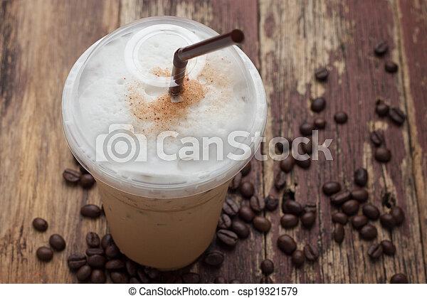 mélangé, frappucino, haricots, café, glacé - csp19321579