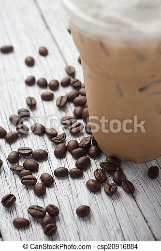 mélangé, frappucino, haricots, café, glacé - csp20916884