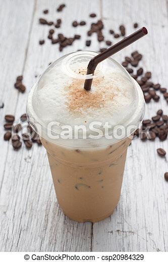 mélangé, frappucino, haricots, café, glacé - csp20984329