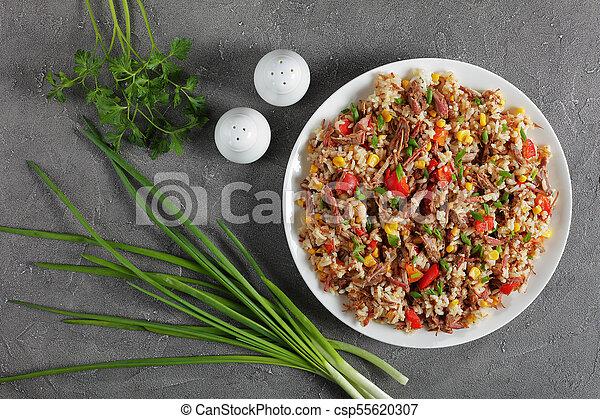 mélangé, riz, juteux, boeuf, végétariens - csp55620307