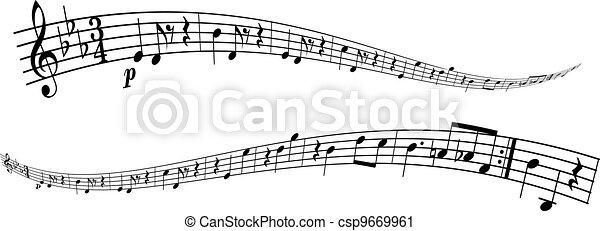 mélodie, bandes, transformé - csp9669961