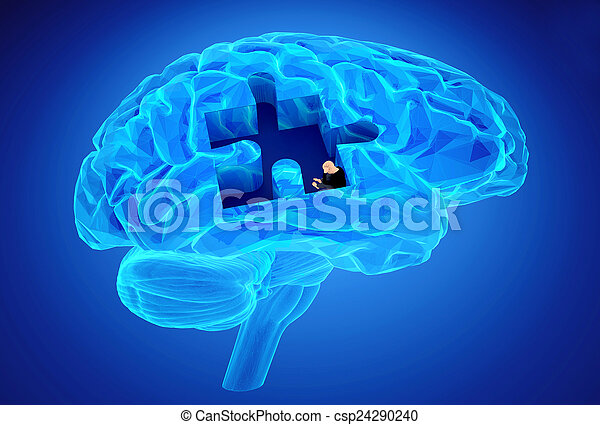 mémoires, maladie, cerveau, démence, perte, fonction - csp24290240