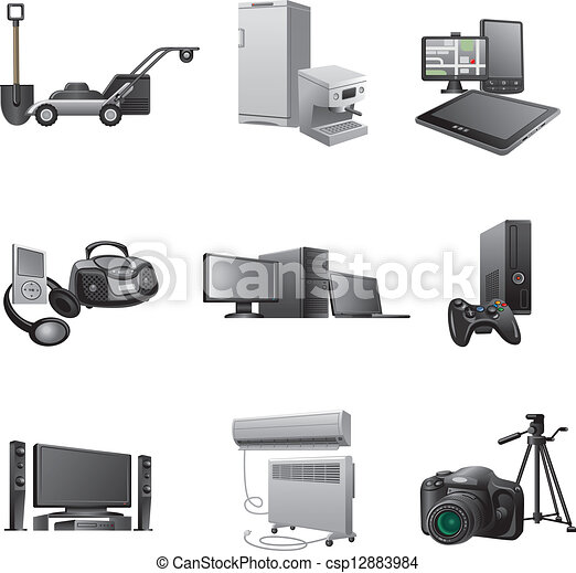 ménage, ensemble, appareils, icône - csp12883984