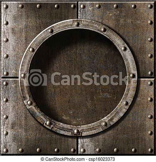 métal, fond, hublot - csp16023373