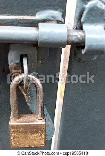 métal, porte fermée, serrure - csp19565110
