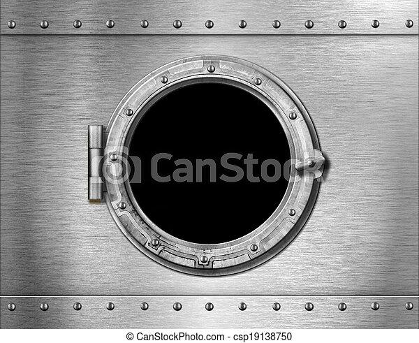 métal, sous-marin, fenêtre, fond, bateau, ou - csp19138750