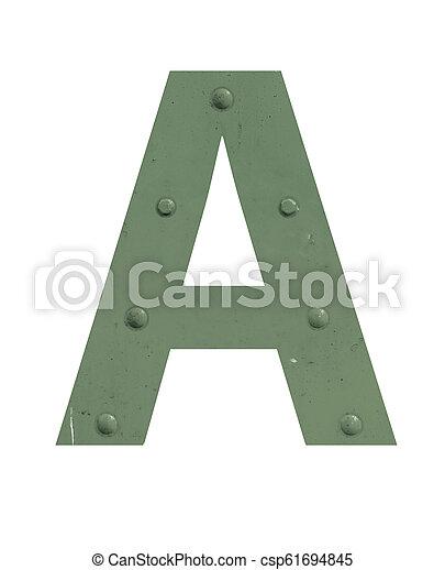 métal vert, lettre - csp61694845