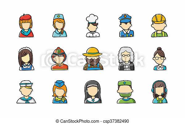 métiers, ensemble, gens, icônes - csp37382490