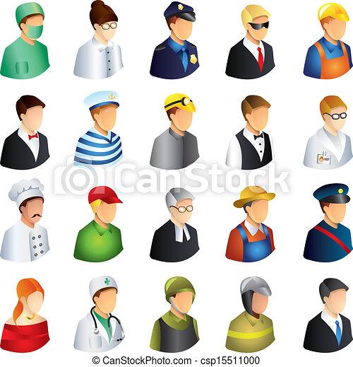 métiers, vecteur, ensemble, gens, icônes - csp15511000
