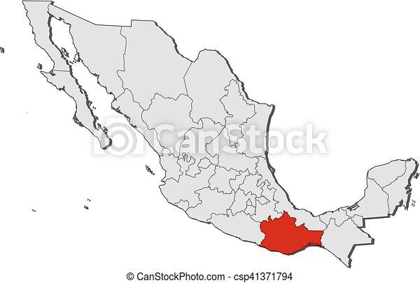 México Mapa Oaxaca Oaxaca Mapa Provincias Highlighted México