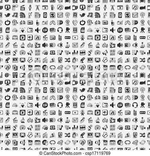 mídia, doodle, jogo, ícones - csp17119769