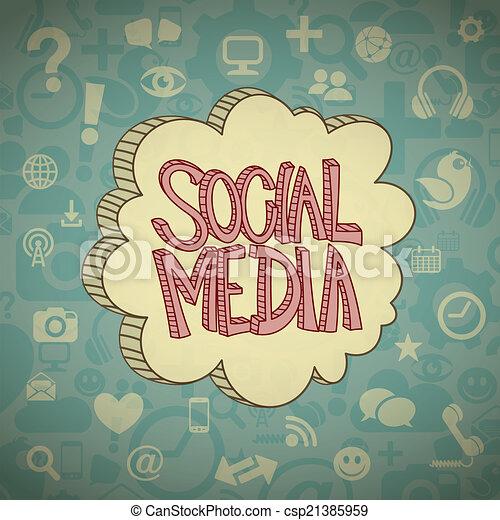 mídia, nuvem, social - csp21385959