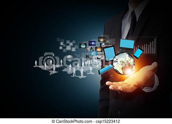 mídia, tecnologia, social - csp15223412