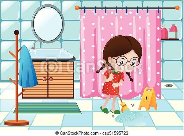 Mi Dchen Boden Badezimmer Putzen Mi Dchen Boden Badezimmer Abbildung Putzen Canstock