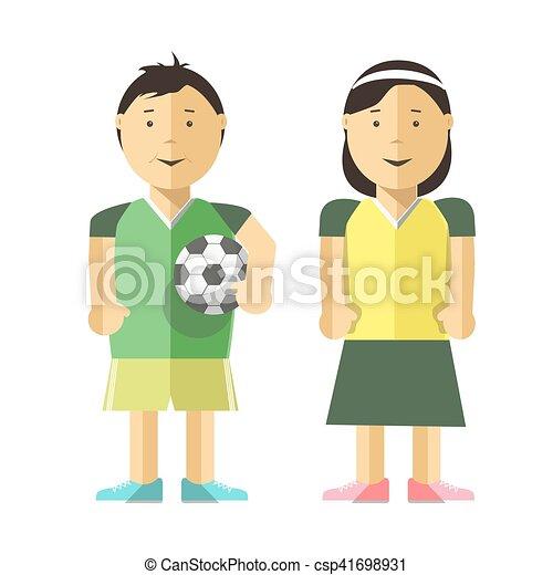 Mi Dchen Fussball Junge Ball