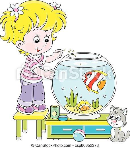 m�dchen, kã¤tzchen, fische, aquarium, klein - csp80652378