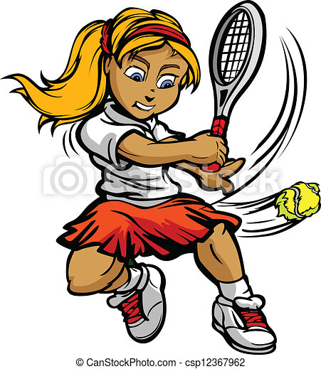 m�dchen, kugel, racquet, schwingen, spieler, tennis, kind - csp12367962